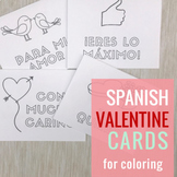 Valentine's Cards in Spanish for Coloring