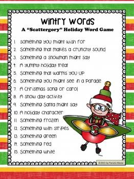 Christmas And Holiday Wintry Words Scattergory Type Word Game By Pamela Moeai