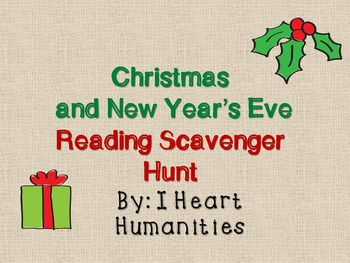 Christmas and New Year's Eve Reading Scavenger Hunt