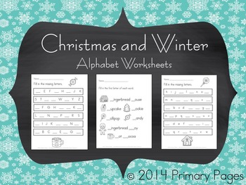 Christmas and Winter Alphabet Worksheets