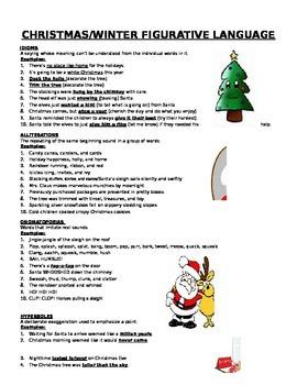 Christmas and Winter Figurative Language