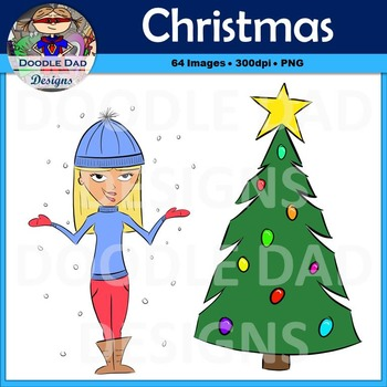 Christmas and Winter Holiday Clip Art (Santa, Snowman, Elf,)