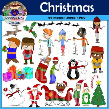 Christmas and Winter Holiday Clip Art (Santa, Snowman, Elf