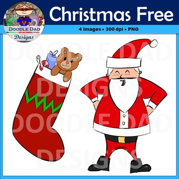 Christmas and Winter Holiday Free Clip Art (Santa and Stocking with Toys)