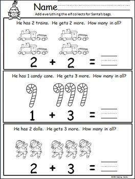 December Christmas Math And Literacy Packet for Kindergarten
