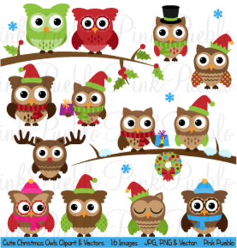 Christmas and Winter Owls Clipart Clip Art