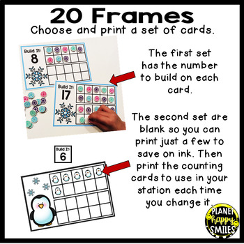 Mini Eraser Christmas and Winter Ten Frames Numbers 1-20