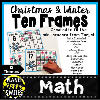 Christmas and Winter Ten Frames Numbers 1-20