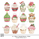 Christmas and Winter Theme Cupcake Clip Art by Gina Jane