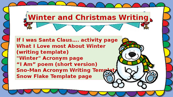 Christmas and Winter Themed Writing activities for lower elementary (1-3 Grades)