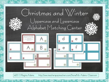 Christmas and Winter Uppercase and Lowercase Matching Center