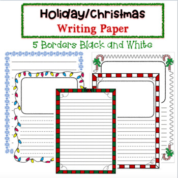 Christmas and Winter Writing Paper! 5 Borders Included!