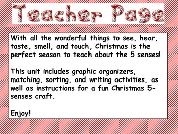 Christmas and Your 5 Senses--Common Core Reading/Writing Unit for 1st Grade