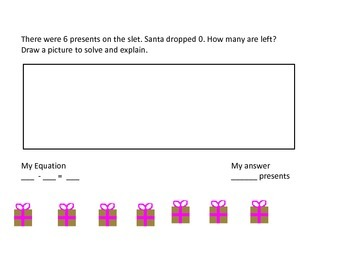 Christmas and shape Subtraction word problems