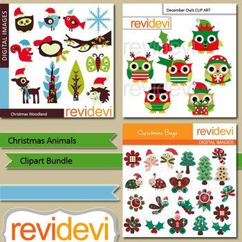 Christmas animals clip art bundle (3 packs)