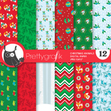 Christmas animals papers, commercial use, scrapbook papers, patterns - PS900