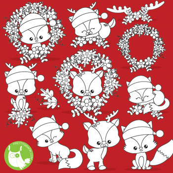 Christmas animals stamps commercial use, vector graphics,