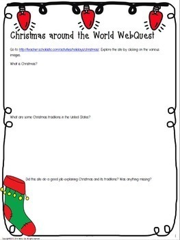 Christmas Around the World WebQuest by History Gal | TpT