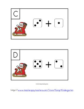 Christmas at the North Pole Dice Add the Room (Sums to 10)