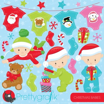 Christmas babies clipart commercial use, vector, digital - CL757