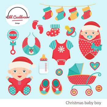 Christmas baby boy clipart, baby clipart, christmas clipart CL011