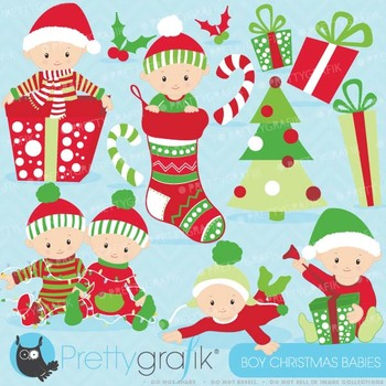 Christmas baby boy clipart commercial use,Christmas babies - CL612