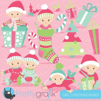 Christmas baby girl clipart commercial use,Christmas babies - CL611