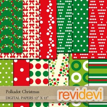 Christmas background / digital papers Polkadot Christmas /