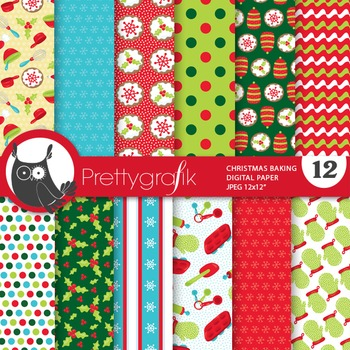 Christmas baking papers, commercial use, scrapbook papers - PS762