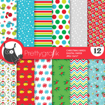 Christmas bird papers, commercial use, scrapbook papers, patterns - PS892