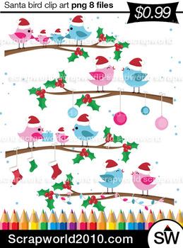 Christmas bird santa hat clipart SALE