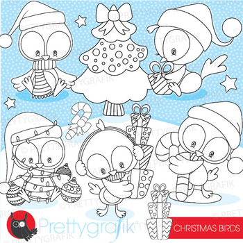 Christmas bird stamps commercial use, vector graphics, images  - DS931