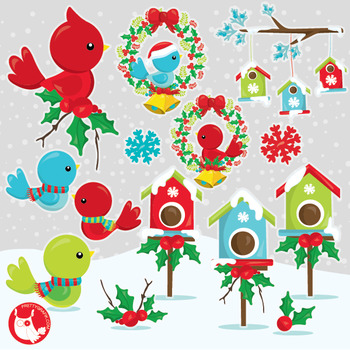 Christmas birds clipart commercial use, vector graphics, digital  - CL1047