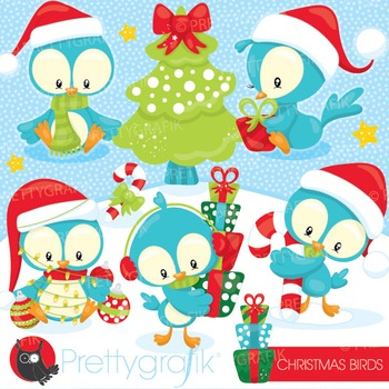 Christmas birds clipart commercial use, vector graphics, digital - CL931