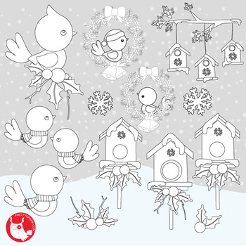 Christmas birds stamps,  commercial use, vector graphics, images  - DS1047