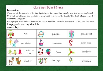 Christmas Board Game {K, 1st, ESL, EFL}