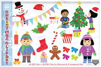 Christmas Illustrations Png.Christmas Bundle Clipart Christmas Illustrations Set