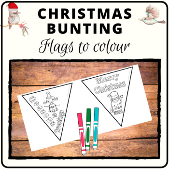 Christmas bunting flags with vocabulary