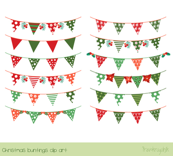 Christmas buntings clipart, Red green holiday banner flags clip art, Xmas set