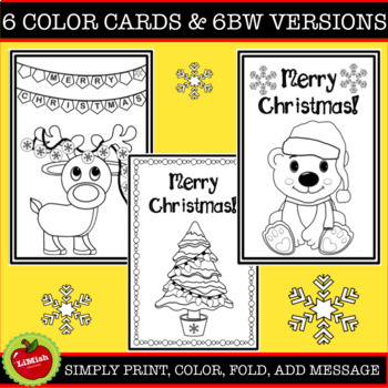 Christmas Cards To Color In Or Print As Is