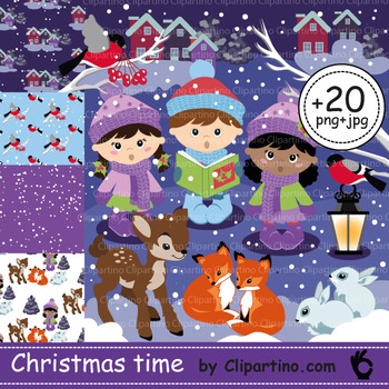 Christmas carolers clipart+paper