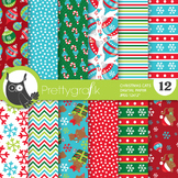 Christmas cat papers, commercial use, scrapbook papers - PS760