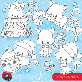 Christmas cat stamps commercial use, vector graphics, images,  - DS923