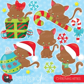 Christmas cats clipart commercial use, graphics, digital clip art - CL923