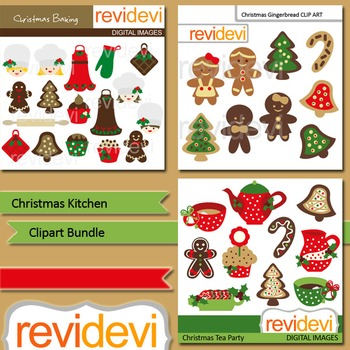 Christmas clip art: Christmas Kitchen clipart bundle (3 packs)