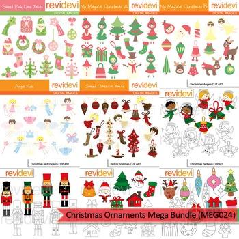Christmas clip art - Christmas ornaments clipart mega bundle (9 packs)