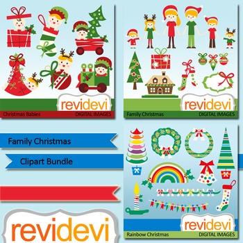 Christmas clip art: Family christmas clipart bundle (3 packs)
