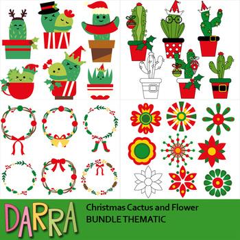 Christmas Cactus Clipart.Christmas Clip Art Bundle Cactus Wreath Flower