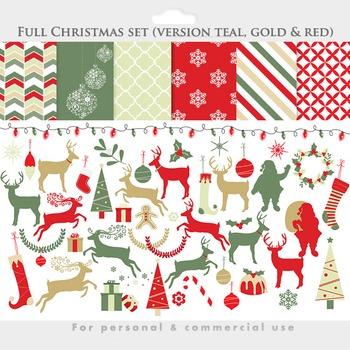 Christmas clip art digital papers deer clip art, reindeer, Santa, holiday