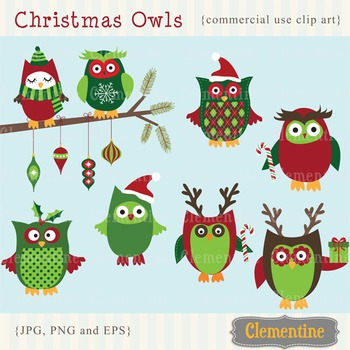 Christmas clip art images, owl clip art, Christmas Owls clip art